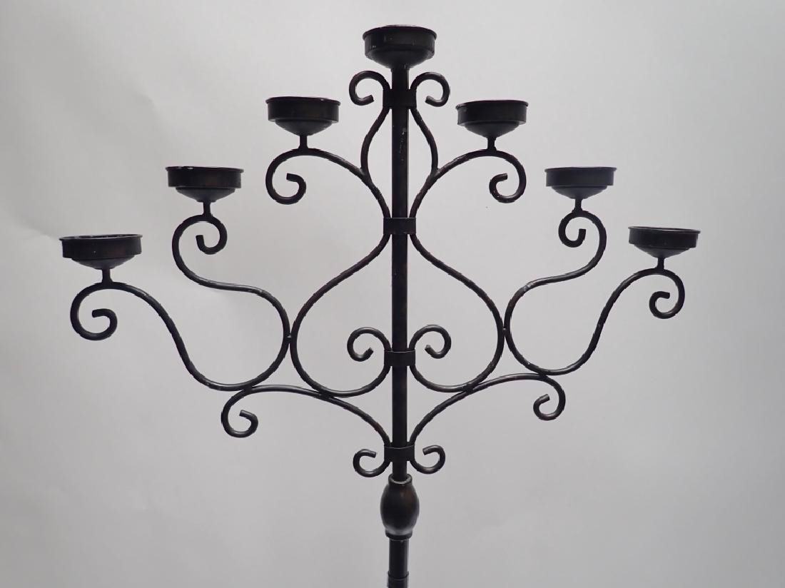 Pair of 5' Tall Iron Floor Candelabras - 2