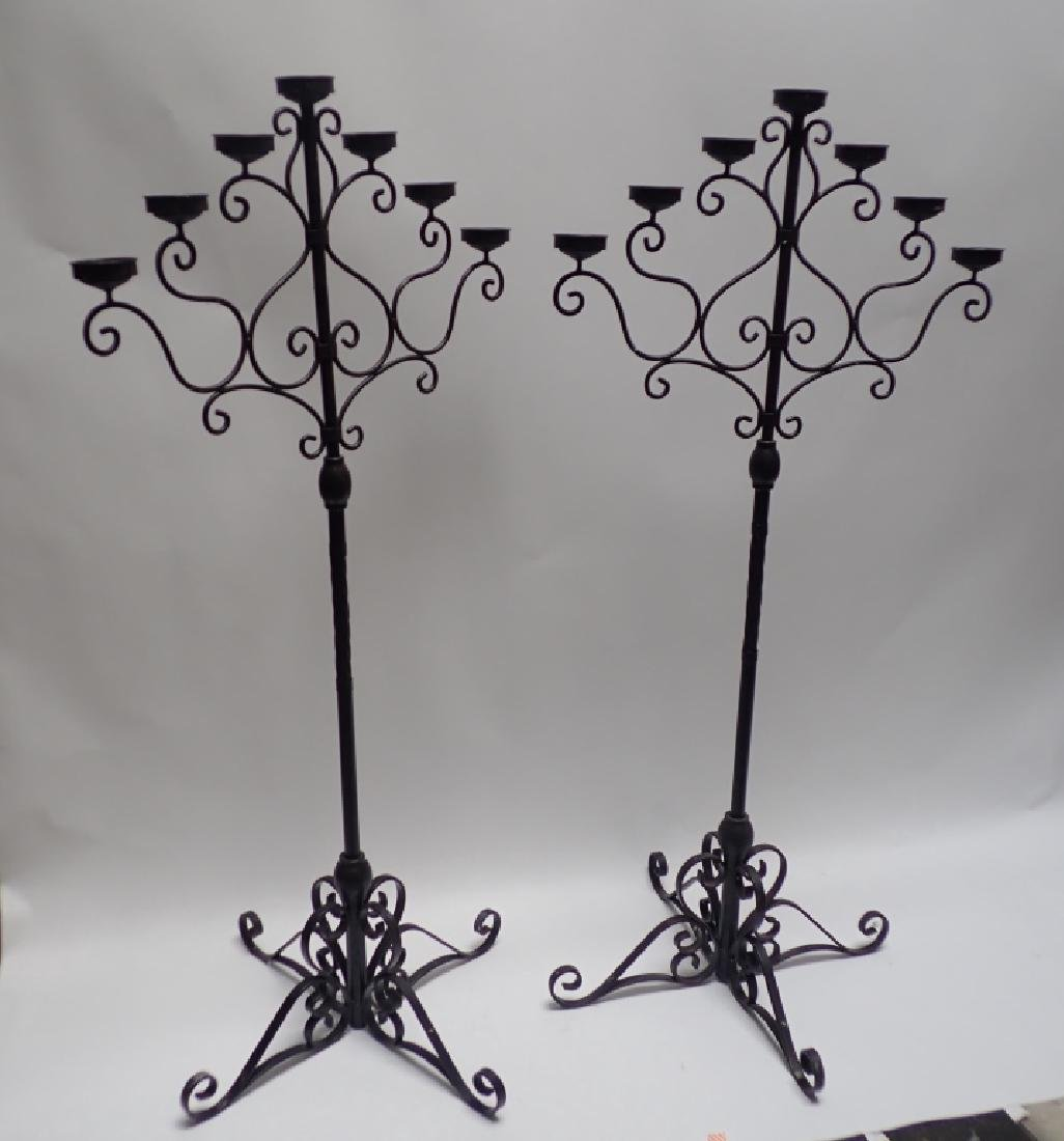 Pair of 5' Tall Iron Floor Candelabras - 9