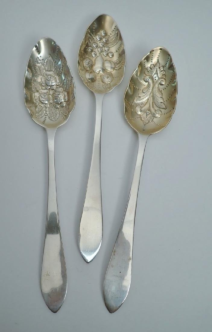 3 Tiffany Sterling Chased & Gilt Serving Spoons