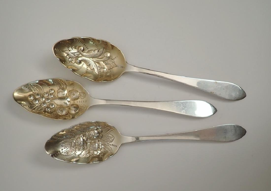 3 Tiffany Sterling Chased & Gilt Serving Spoons - 2