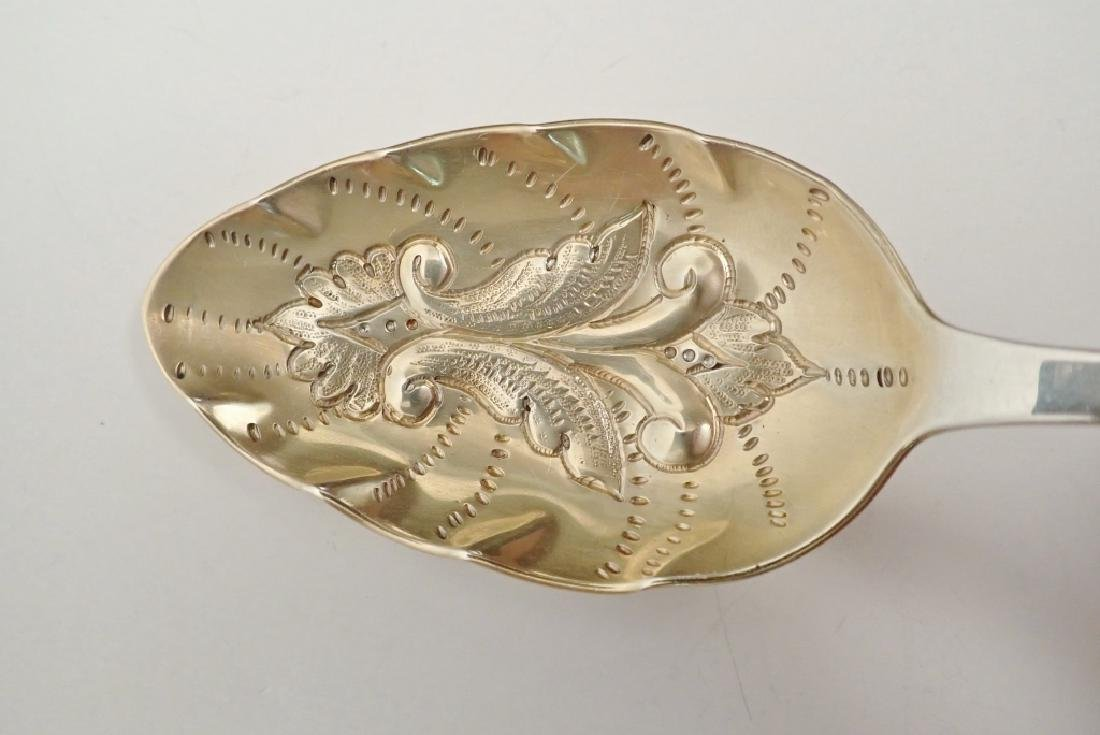 3 Tiffany Sterling Chased & Gilt Serving Spoons - 7