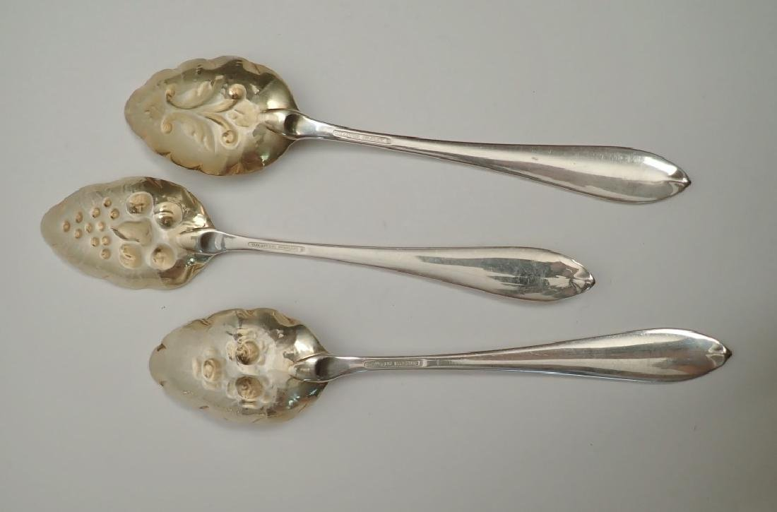 3 Tiffany Sterling Chased & Gilt Serving Spoons - 9