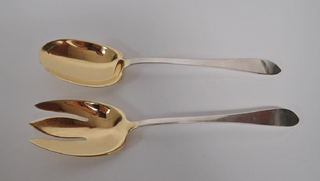 Faneuil Tiffany Sterling Salad Servers w Gilt Wash - 2