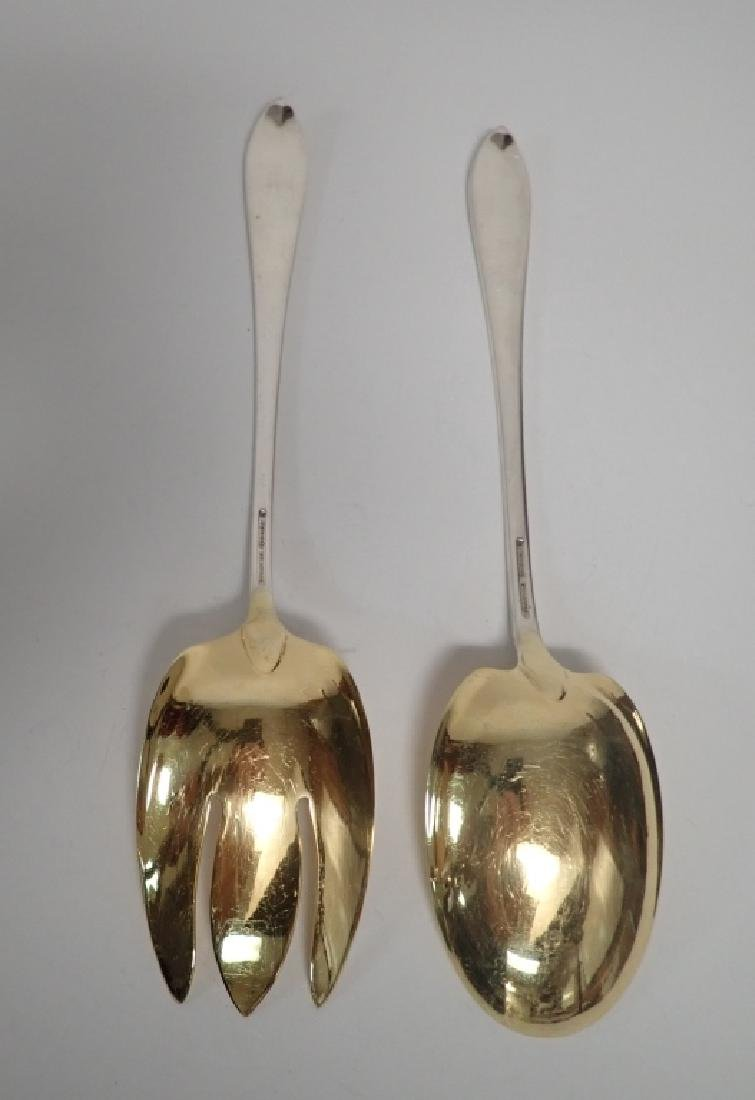 Faneuil Tiffany Sterling Salad Servers w Gilt Wash - 4