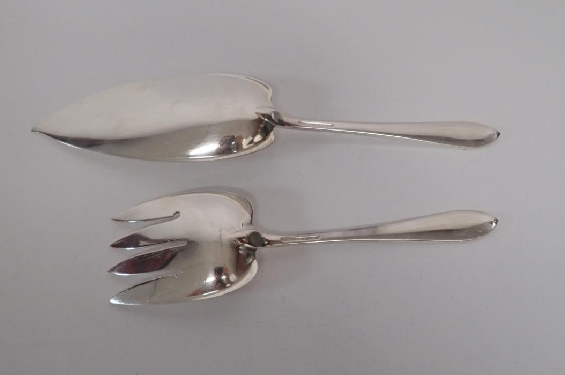 2 Piece Faneuil Tiffany Sterling Fish Server Set - 4