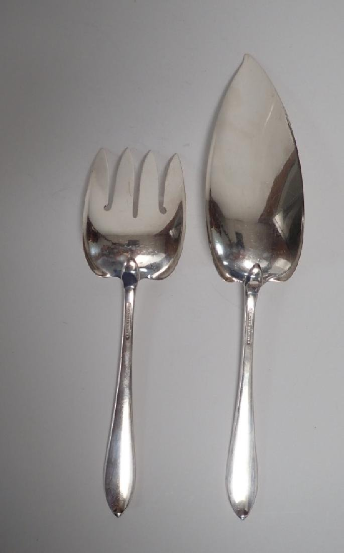 2 Piece Faneuil Tiffany Sterling Fish Server Set - 7