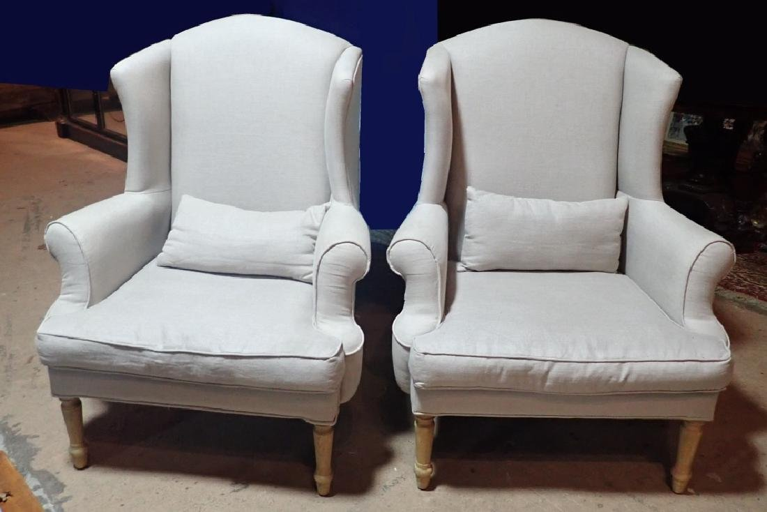 Pair Upholstered Arm Chairs