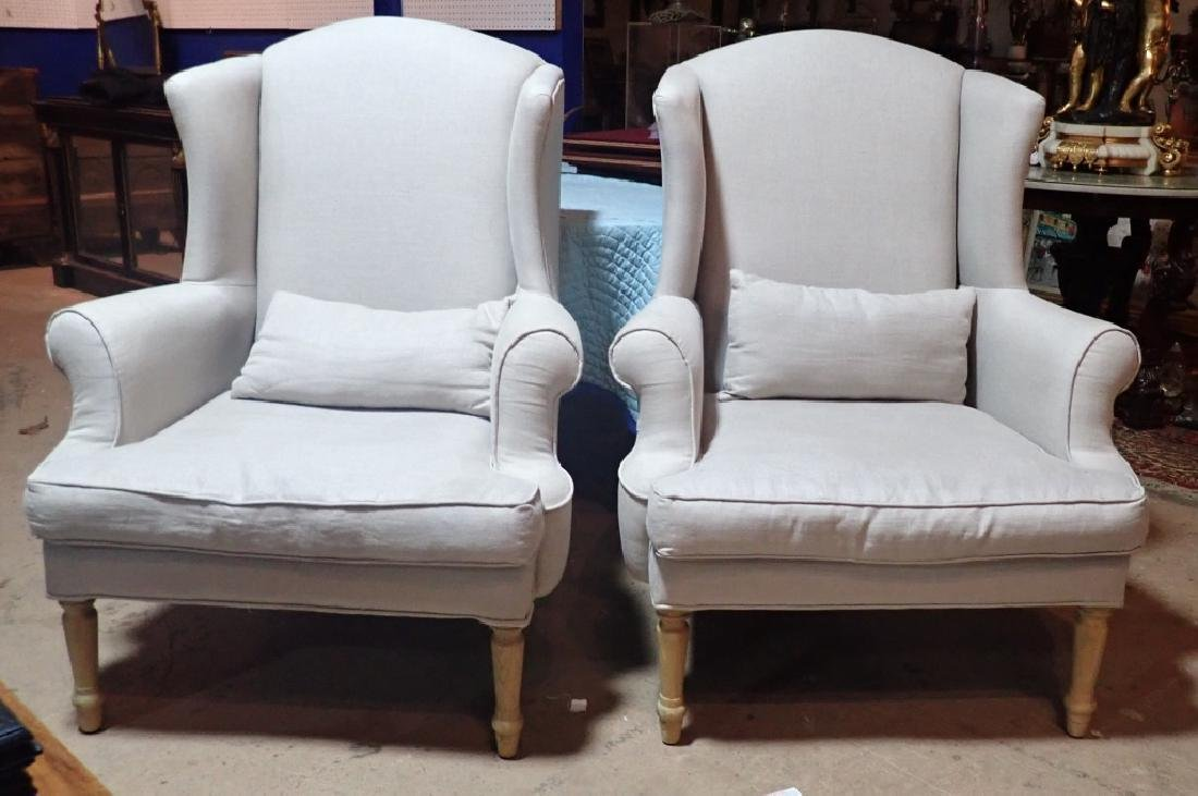 Pair Upholstered Arm Chairs - 9