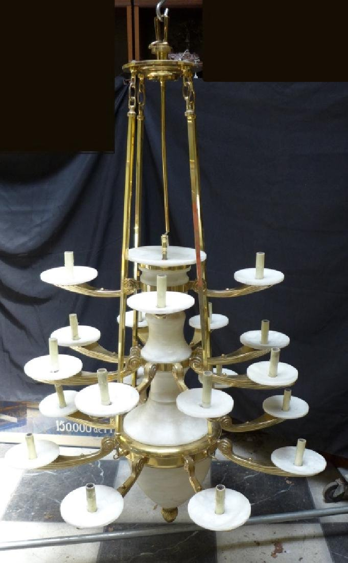 Large Three Tier Alabaster Chandelier - 10