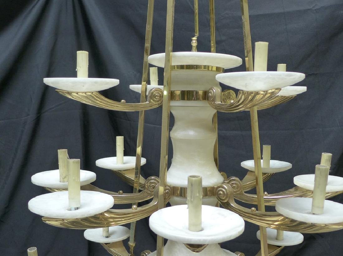 Large Three Tier Alabaster Chandelier - 2