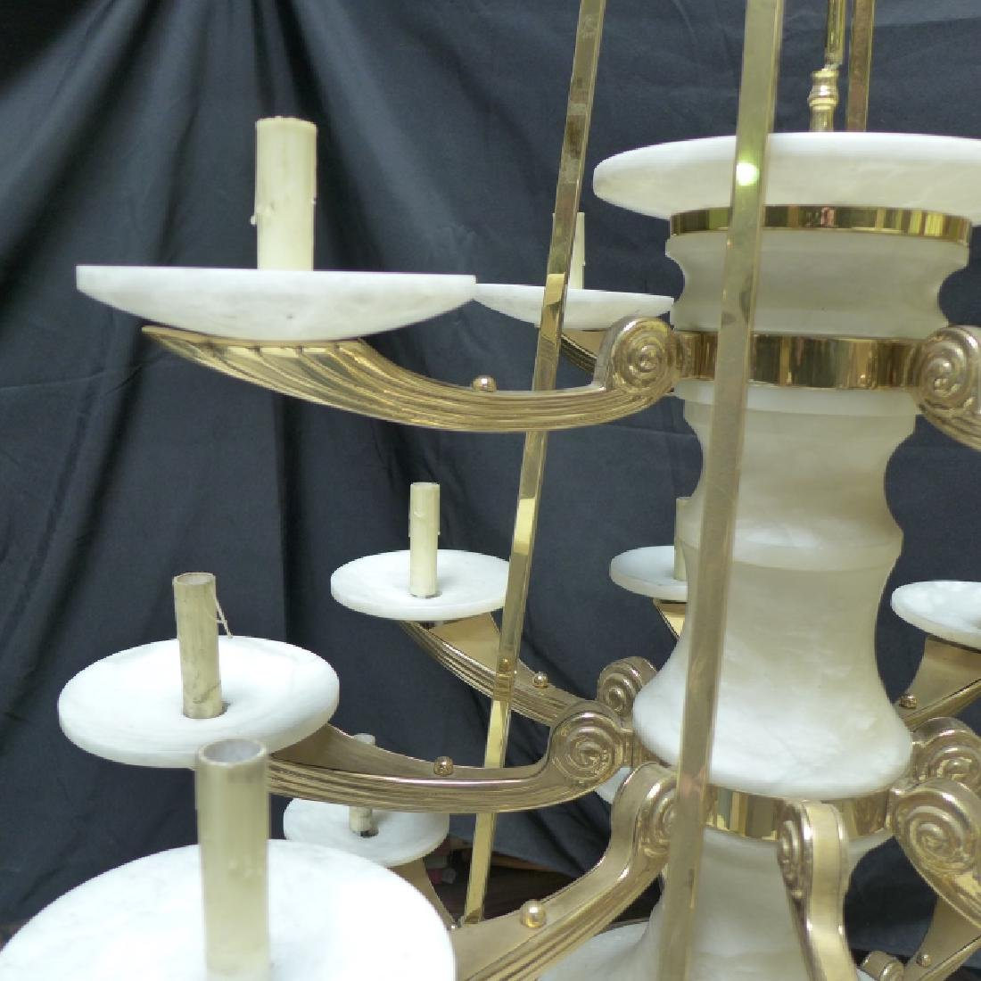Large Three Tier Alabaster Chandelier - 3