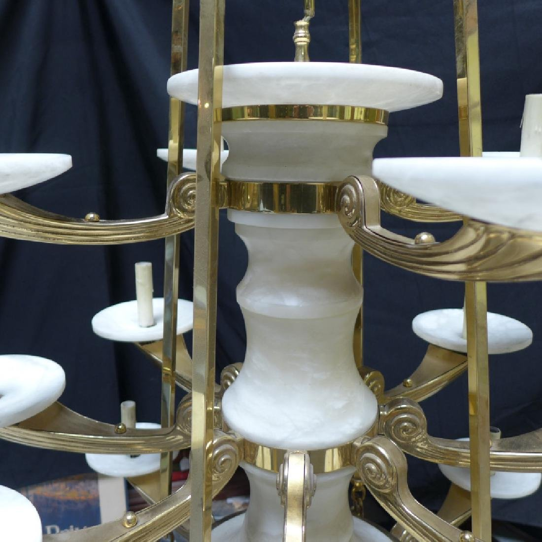 Large Three Tier Alabaster Chandelier - 4