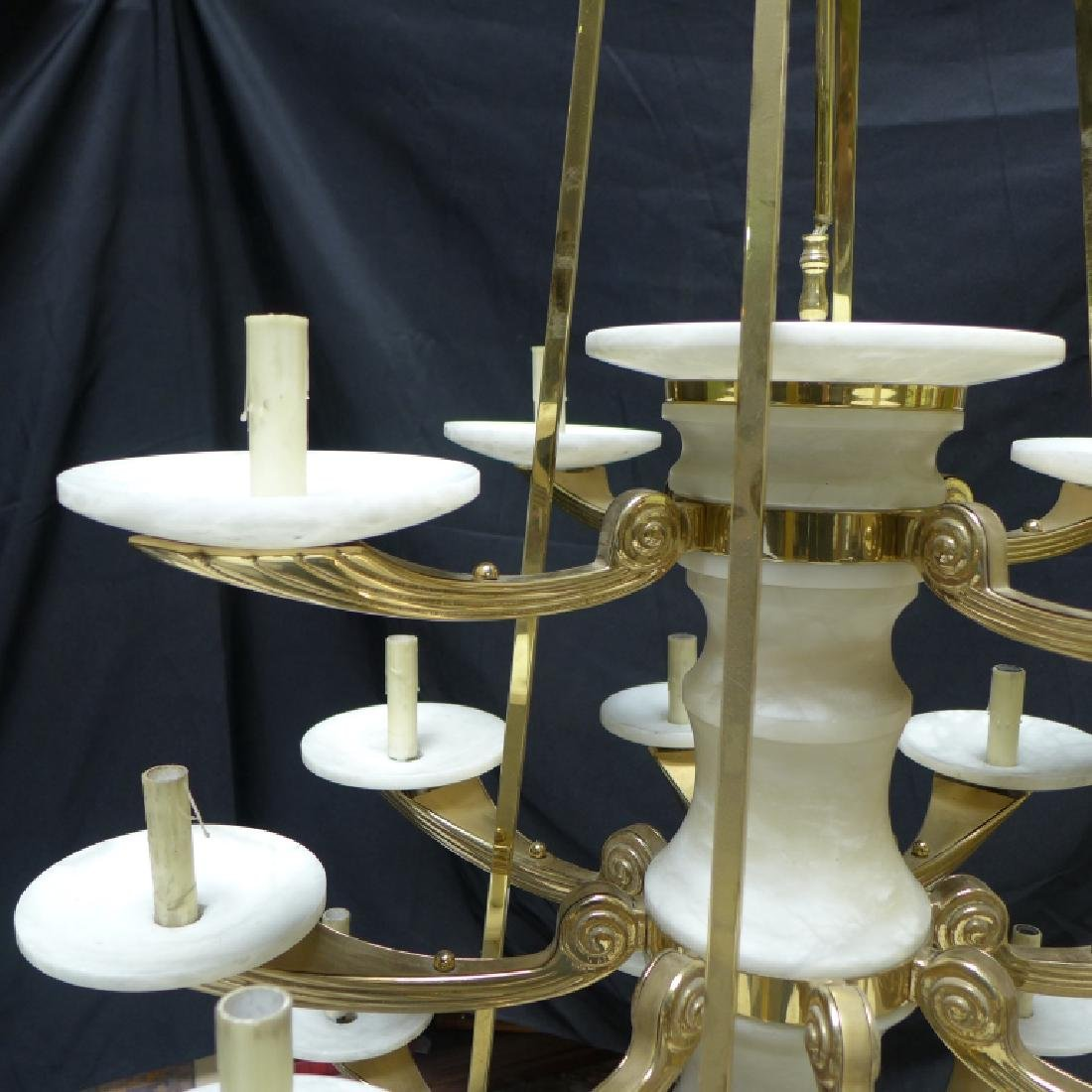 Large Three Tier Alabaster Chandelier - 8