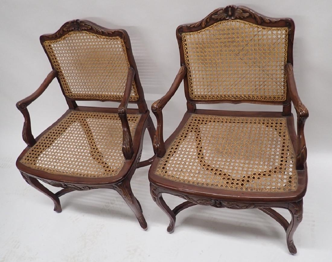 Pair of Caned Carved Wood Arm Chairs - 10