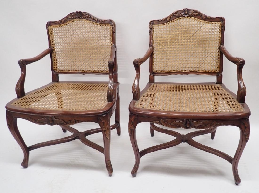 Pair of Caned Carved Wood Arm Chairs