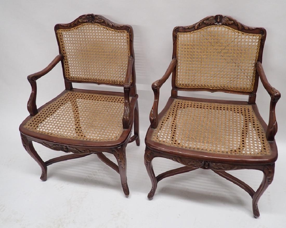 Pair of Caned Carved Wood Arm Chairs - 2