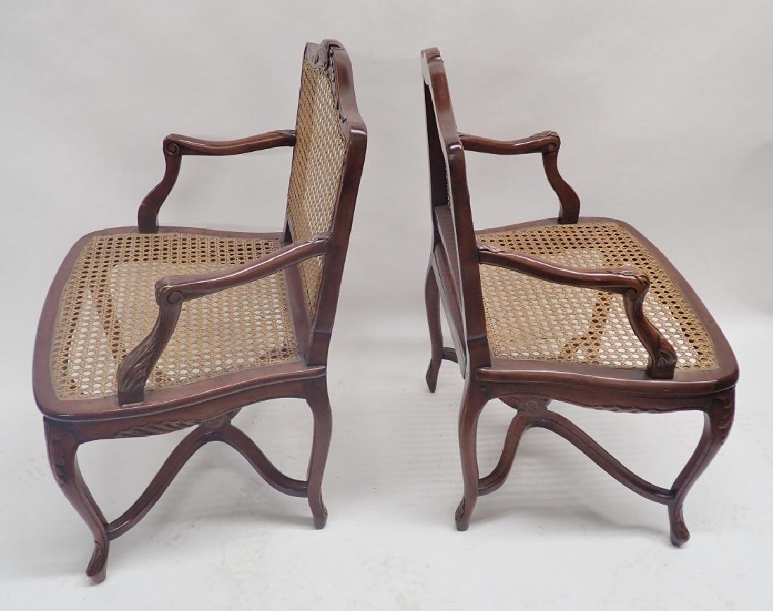 Pair of Caned Carved Wood Arm Chairs - 3