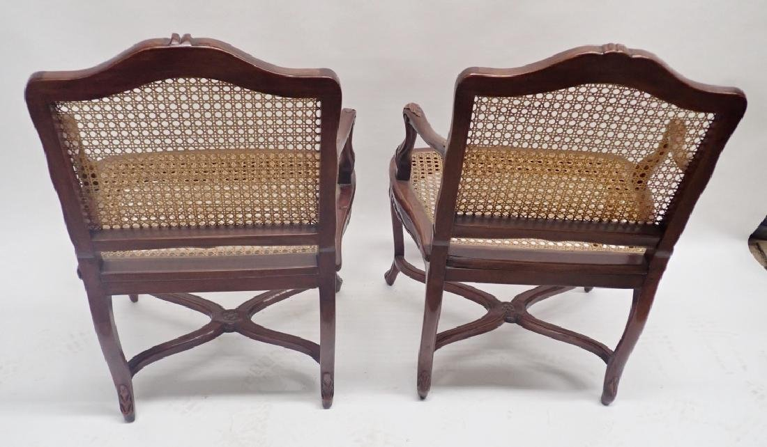 Pair of Caned Carved Wood Arm Chairs - 4