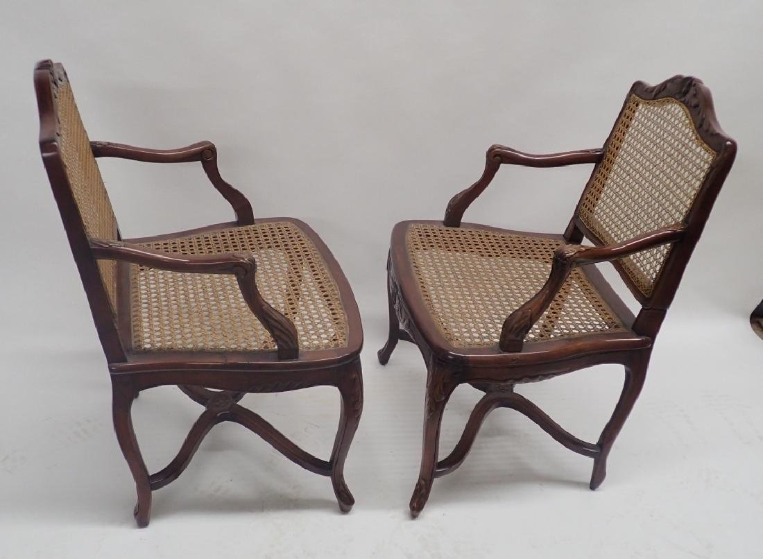 Pair of Caned Carved Wood Arm Chairs - 5