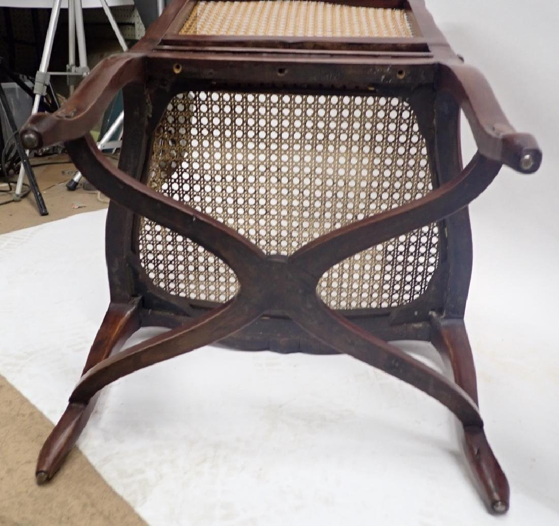 Pair of Caned Carved Wood Arm Chairs - 6