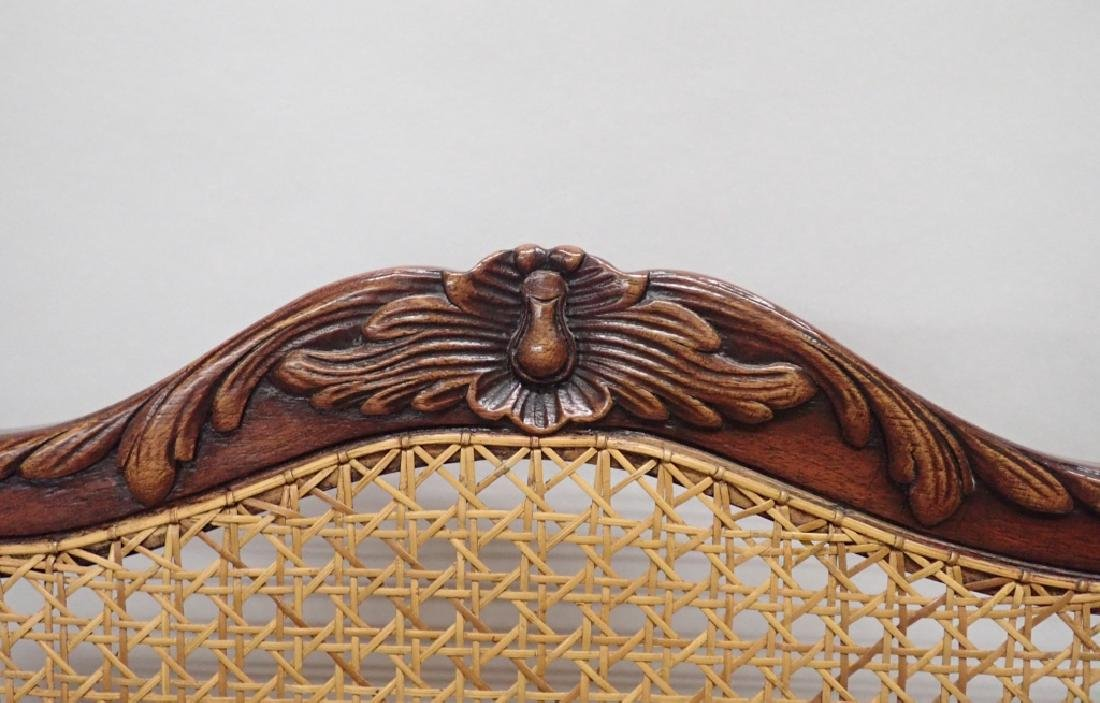 Pair of Caned Carved Wood Arm Chairs - 8
