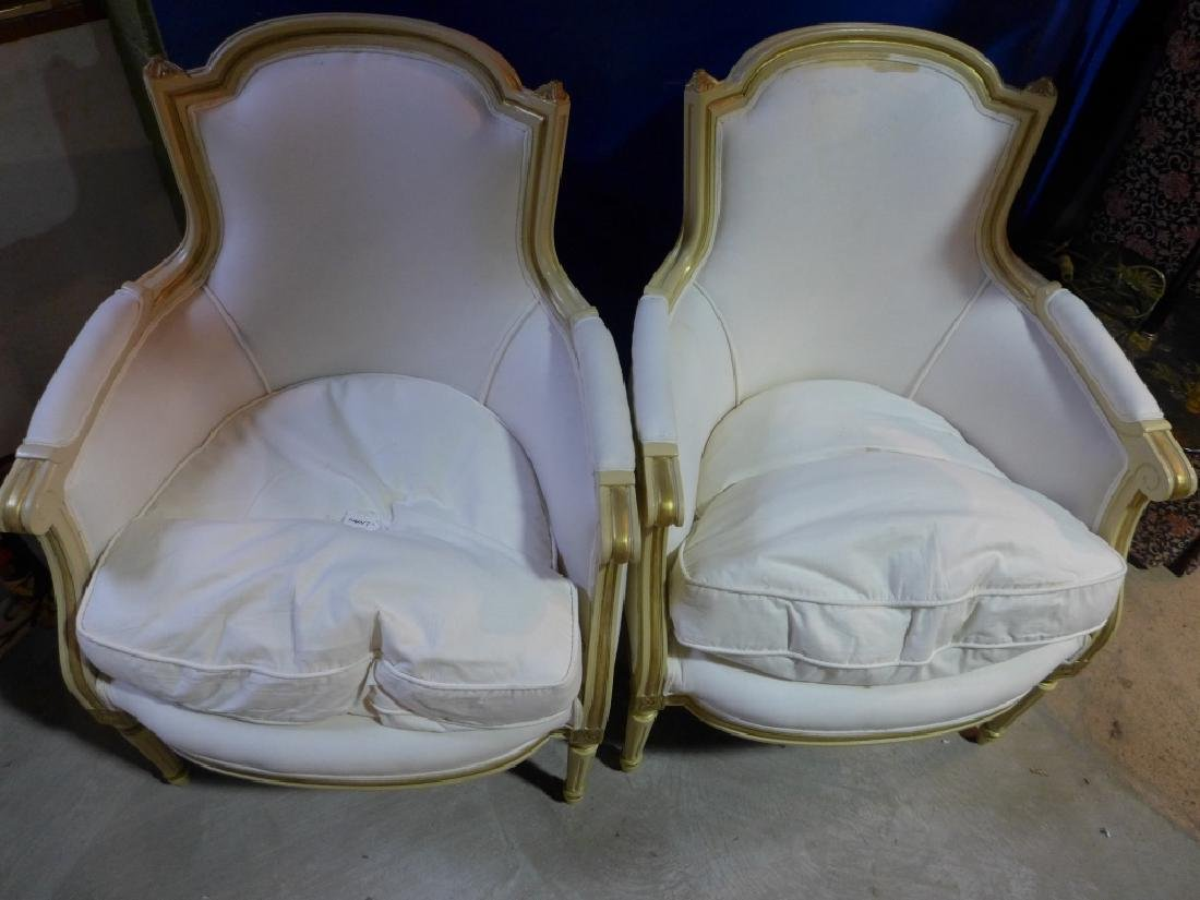 Pair White Upholstered Chairs