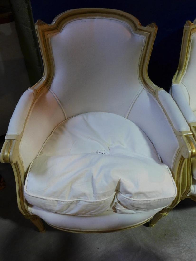 Pair White Upholstered Chairs - 2