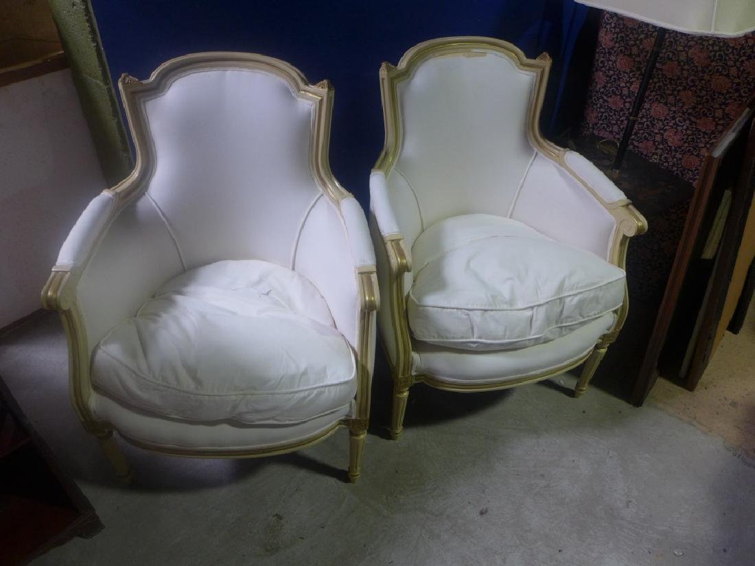 Pair White Upholstered Chairs - 3