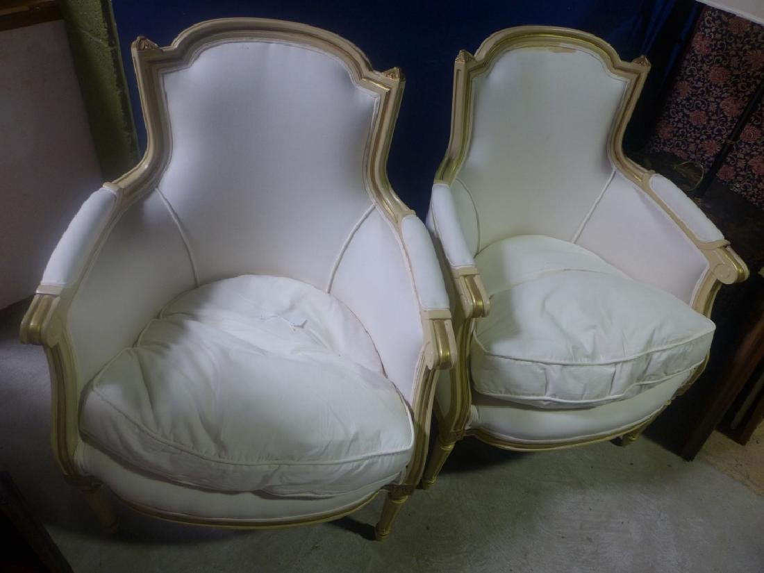 Pair White Upholstered Chairs - 4