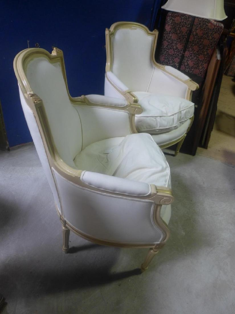 Pair White Upholstered Chairs - 5
