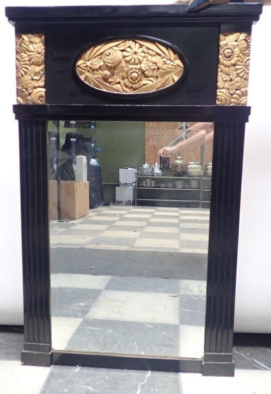 Black & Gilt Large Art Deco Mirror - 2