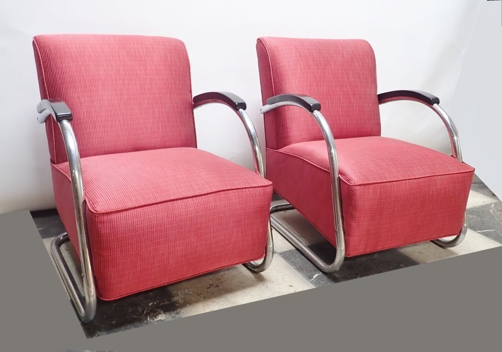 Mid-Century German Tubular Steel Bauhaus Chairs