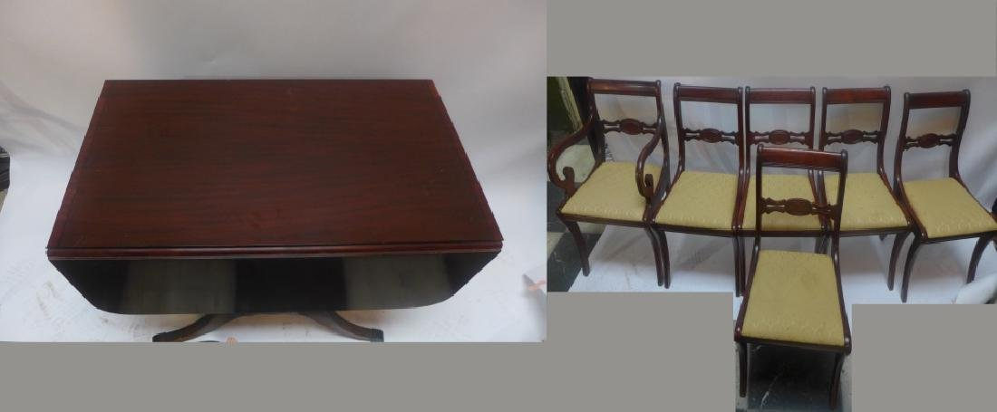 Mahogany Table W/ Leaves & Chairs