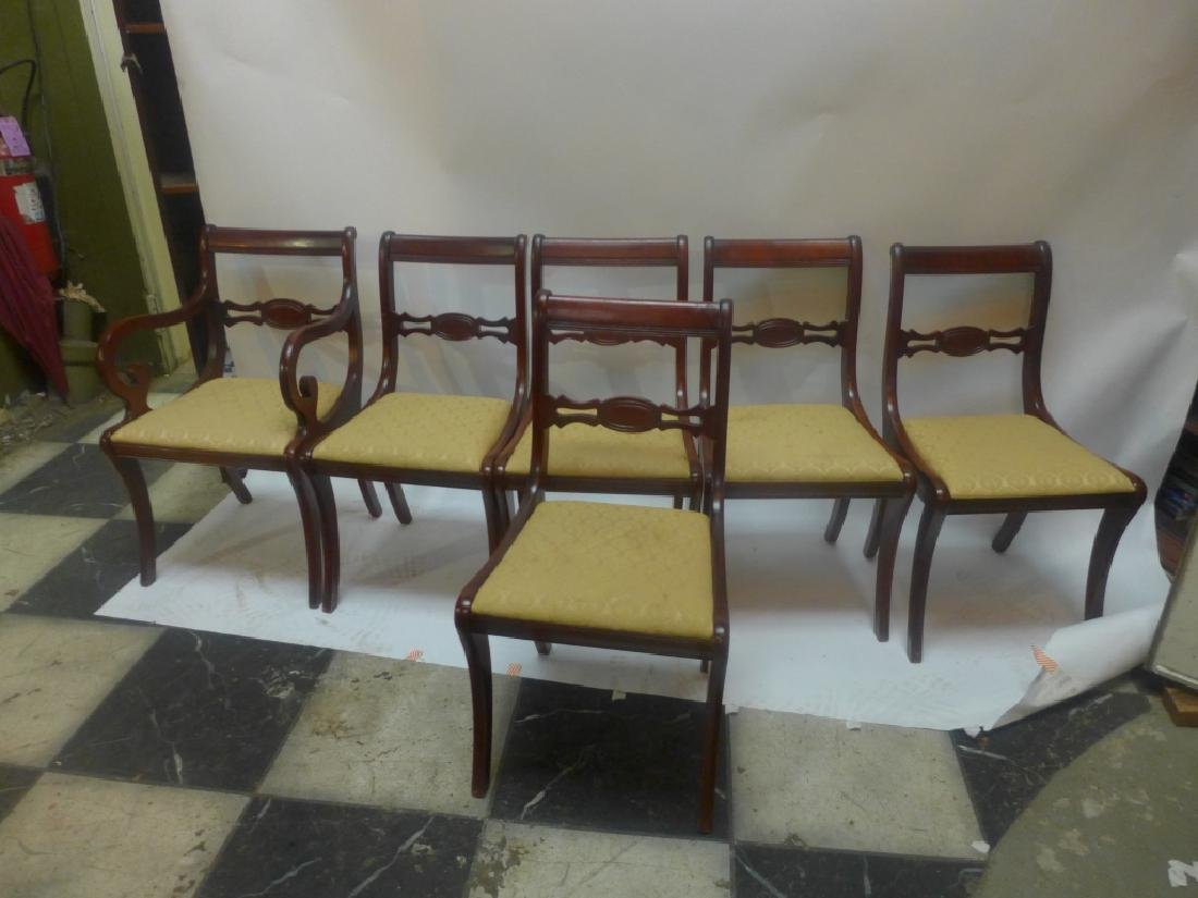 Mahogany Table W/ Leaves & Chairs - 4