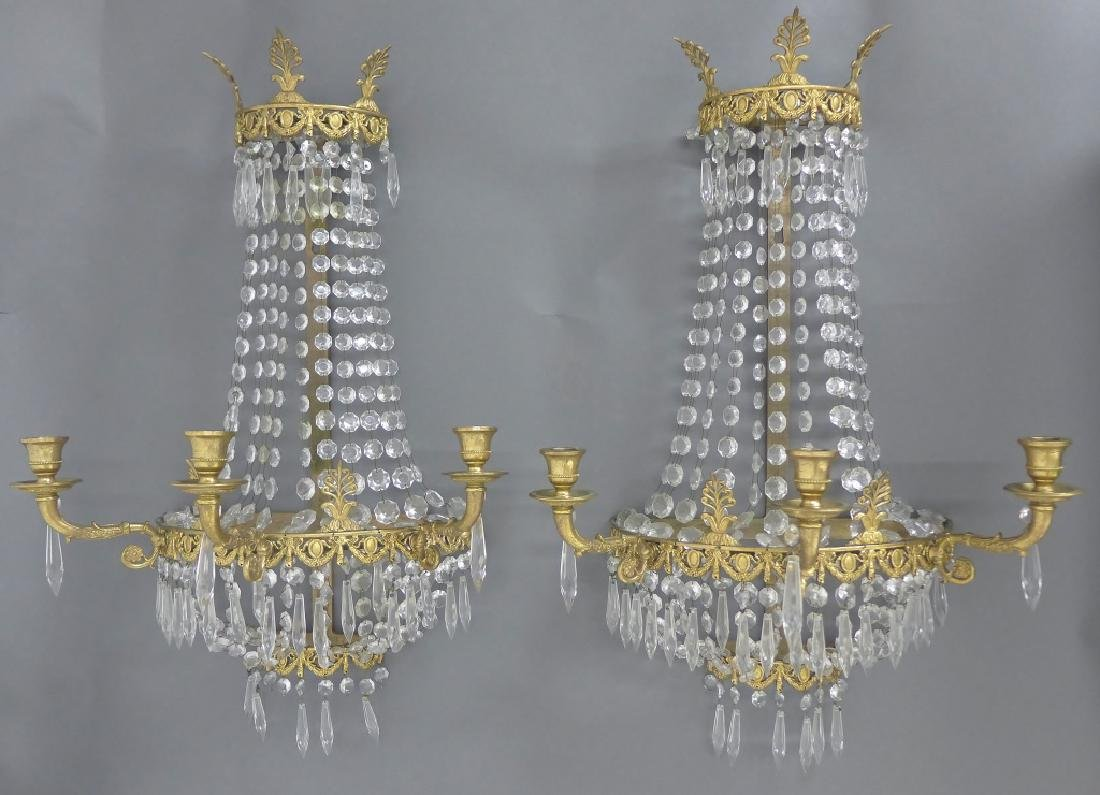 Pair of Crystal and Bronze Three Light Sconces