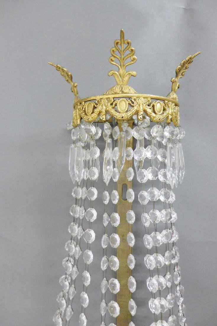 Pair of Crystal and Bronze Three Light Sconces - 3