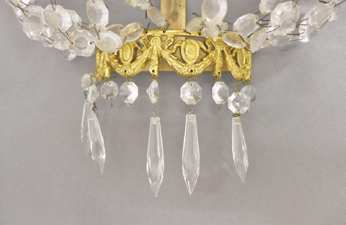Pair of Crystal and Bronze Three Light Sconces - 4