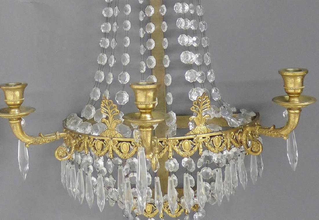 Pair of Crystal and Bronze Three Light Sconces - 5