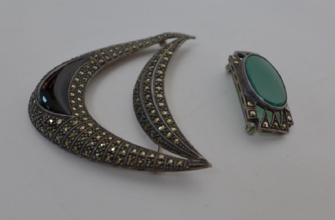 Art Deco Style Marcasite & Sterling Brooches - 7