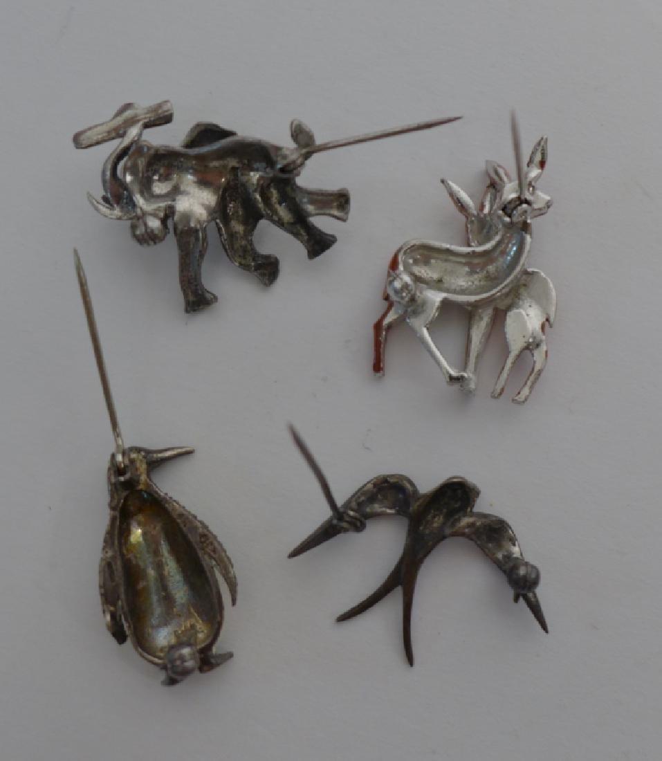 Vintage Sterling, Enamel & Marcasite Brooches - 2