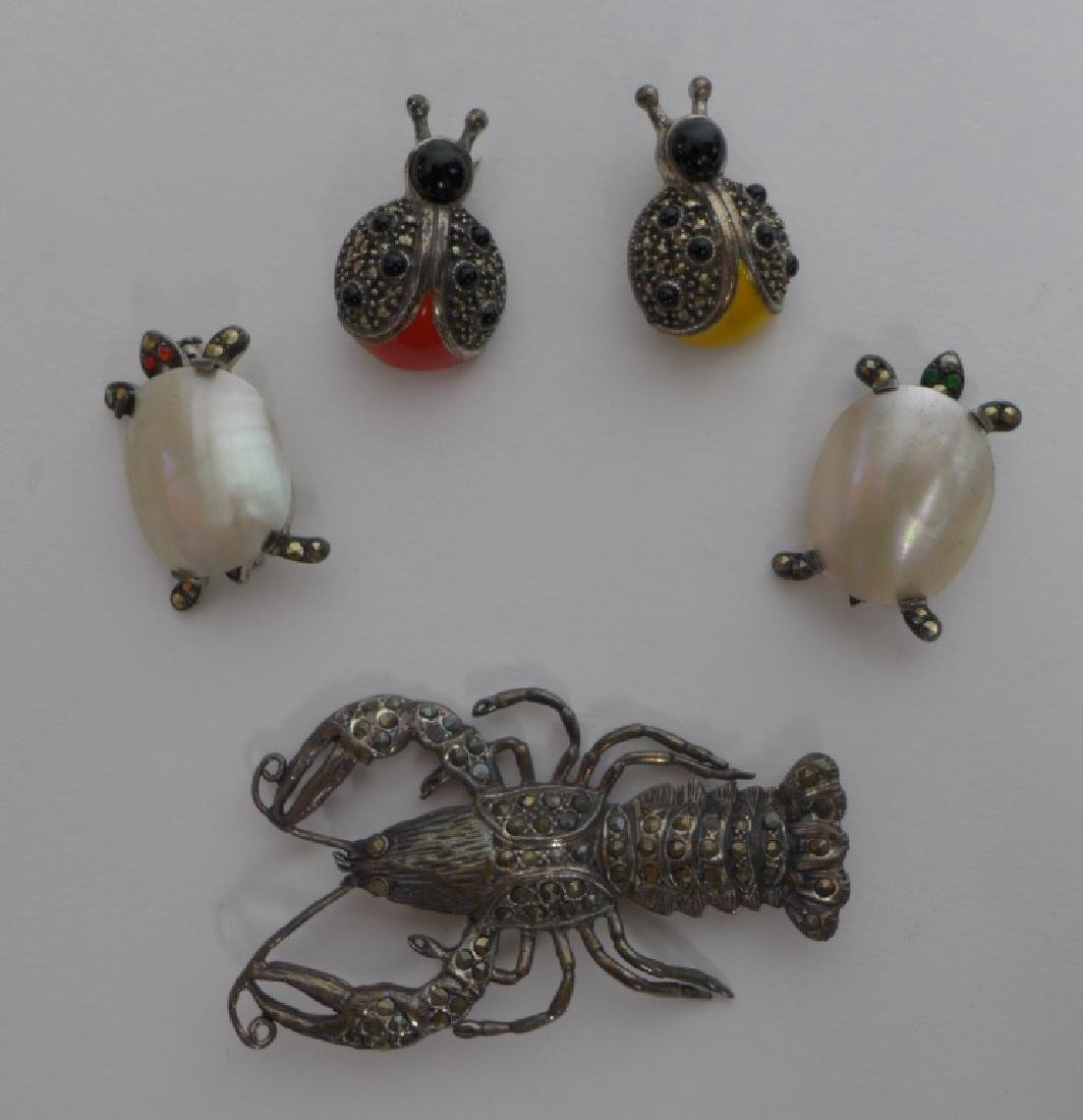 Sterling Silver & Marcasite Vintage Brooches - 6