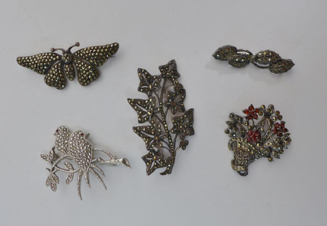 Collection of Sterling & Marcasite Brooches - 10