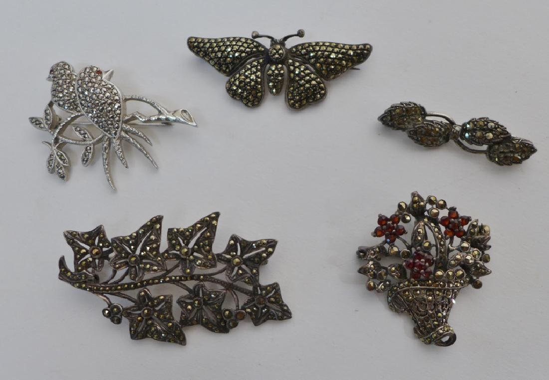 Collection of Sterling & Marcasite Brooches