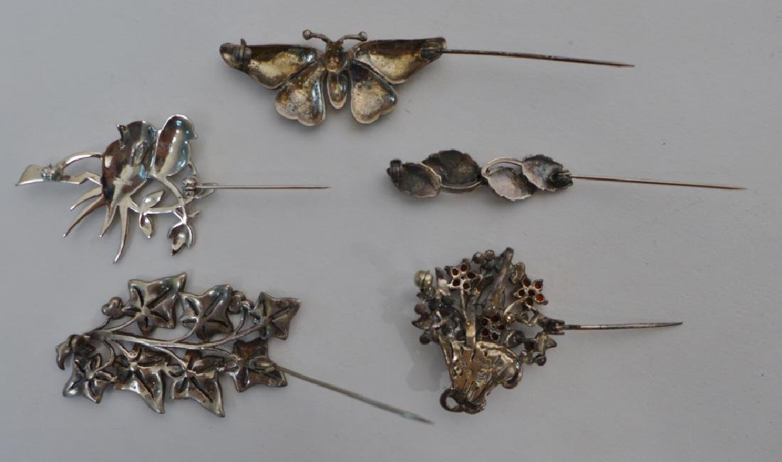 Collection of Sterling & Marcasite Brooches - 2