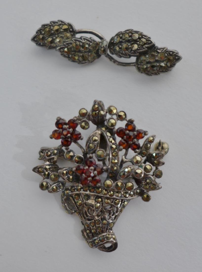 Collection of Sterling & Marcasite Brooches - 8