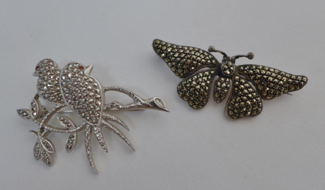 Collection of Sterling & Marcasite Brooches - 9