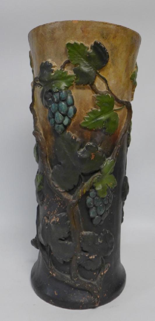 Vintage Terracotta Grape Leaf Floor Vase