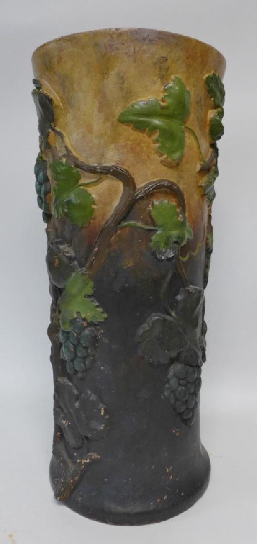 Vintage Terracotta Grape Leaf Floor Vase - 2
