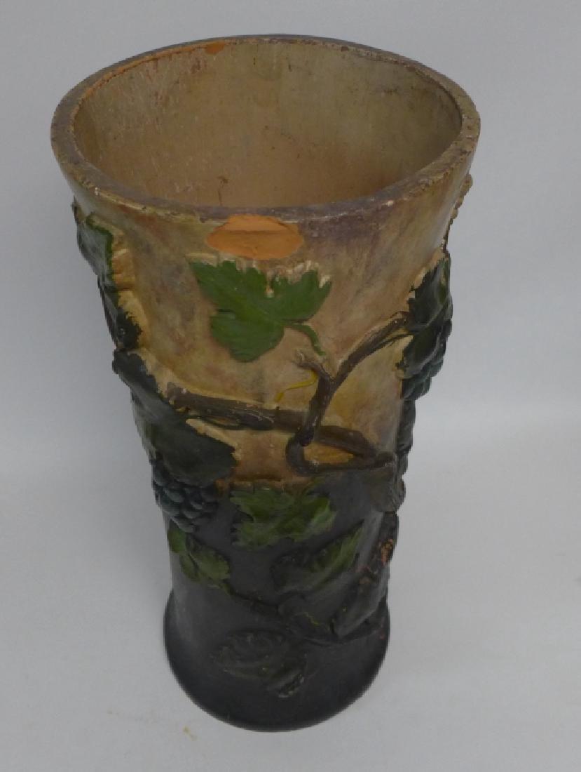 Vintage Terracotta Grape Leaf Floor Vase - 4