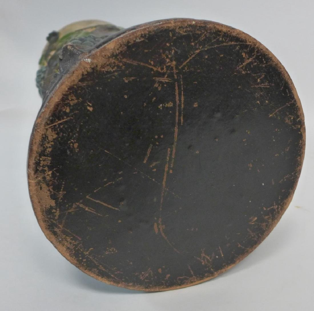 Vintage Terracotta Grape Leaf Floor Vase - 6